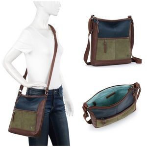 The Sak Iris Leather Crossbody - Sage Block